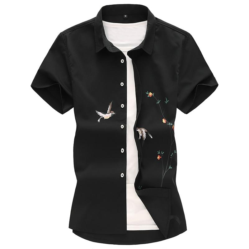 Mens Hawaiian Shirt 2019 Male Casual Camisa Masculina Chinese Style Print Beach Shirt Mens Youth Short Sleeve Brand Clothing 7XL in Casual Shirts from Men 39 s Clothing