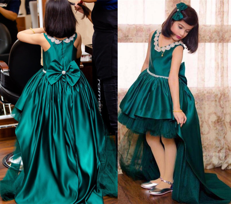 Green satin flower girl dress jewel crystals V-neck high low Pageant dresses toddler junior kid birthday party gown with trainGreen satin flower girl dress jewel crystals V-neck high low Pageant dresses toddler junior kid birthday party gown with train