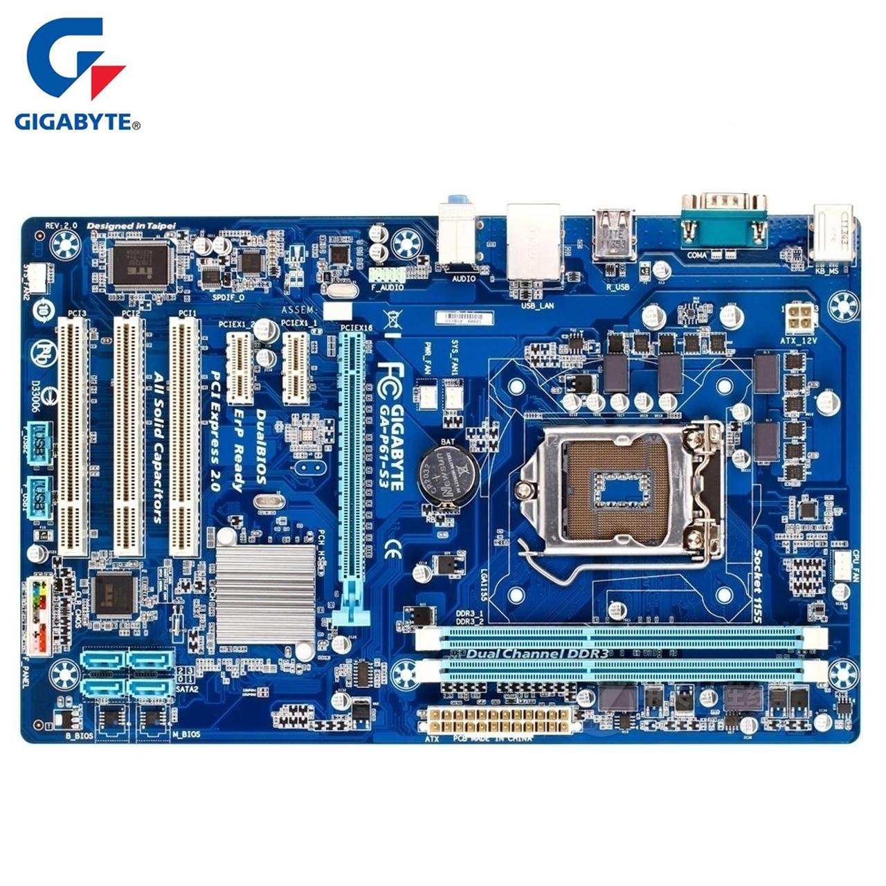 Gigabyte GA-P61-S3 Carte Mère LGA1155 DDR3 USB2.0 16 GB H61 P61 S3 De Bureau Carte Mère Systemboard SATA II PCI-E 3.0 Utilisé