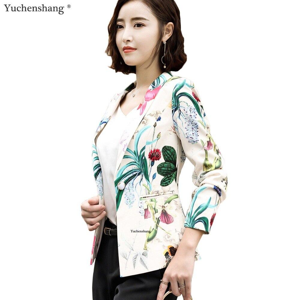 2018 haute qualité floral blazer femmes élégant complet manches OL fleur de style Chinois veste dames de bureau s-4xl vêtements de travail