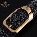 Marca de fábrica famosa Manbang correa correas del diseñador de Moda de Alta calidad de oro/plata hebilla cinturones MBP0056JZ