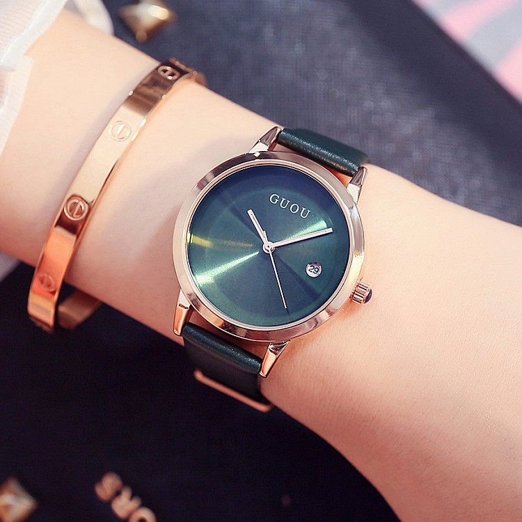 2017 Fashion Women Rose Gold Quartz Watch High Quality Lady Bracelet Dress Watches Luxury Female Real Leather Waterproof  Watch 2016 new watch creative fashion lady love rose gold bracelet watch korea version of the trend of personalized watches