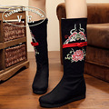 Bordado de la vendimia Mujeres Botas Étnico Floral de La Rodilla Retro Bordado de la Alta Calidad Caliente Del Invierno de la Cremallera Botas Zapatos Mujer