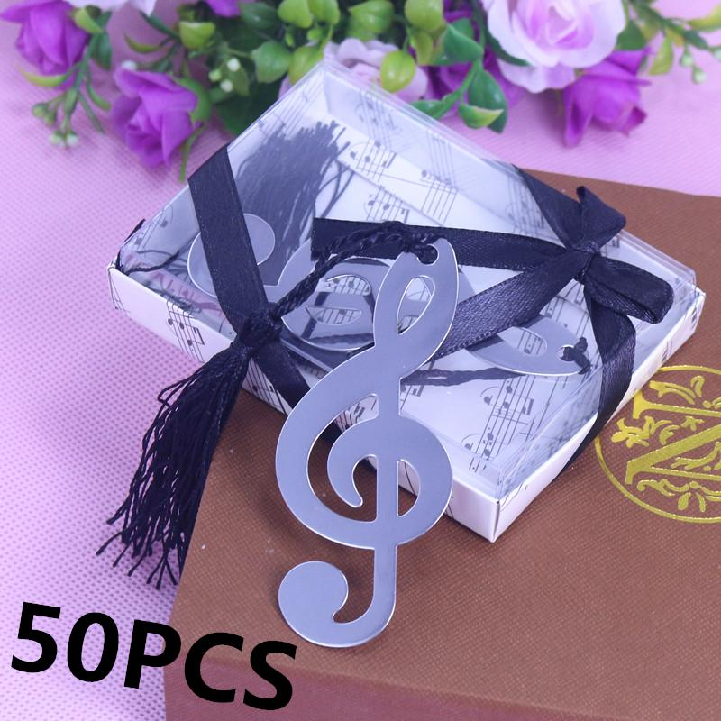 50pcs Silver Music Note Bookmark wedding Favour Birthday Gifts Baby Shower Christening Birthday Favour For Guests souvenir