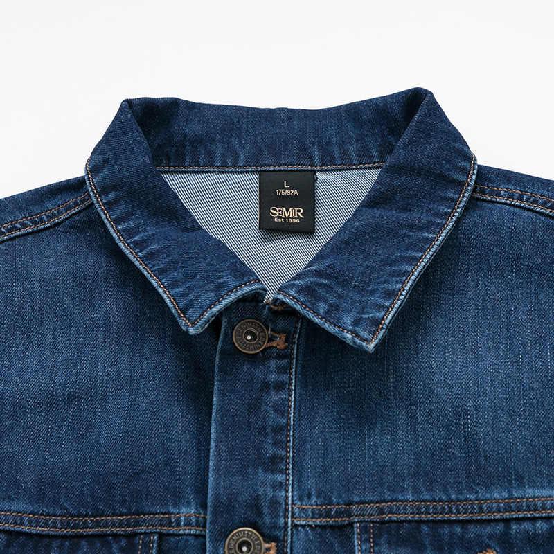 סמיר ג 'ינס מעילי גברים מעיל כהה כחול מזדמן בני נוער ג' ינס מעיל כותנה תורו למטה צווארון ארוך שרוול ינס מפציץ מעילים