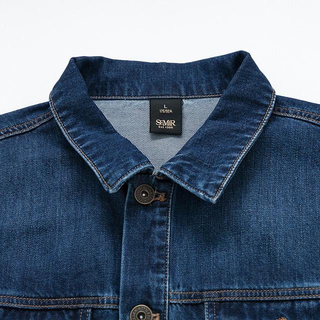 SEMIR denim Jackets men coat dark Blue Casual Teens Denim Jacket cotton Turn-down Collar Long Sleeve Denim Bomber jackets 3