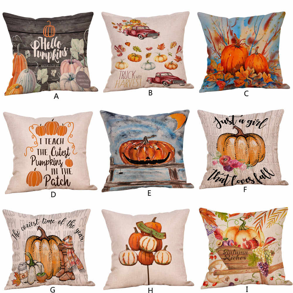 Halloween Pumpkin ghosts Cotton Linen Cushion covers cotton Linen Sofa throw pillow case 45x45cm Home Decor 2O0824