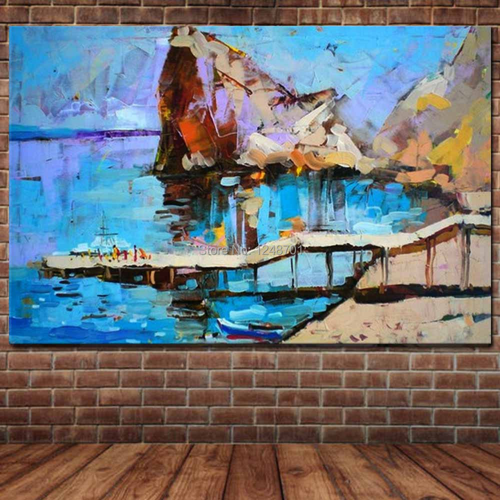Hand Painted Abstract Impasto Palette Knife Seascape Canvas Oil Painting Abstract Sea Wall Picture Living Room Home Wall Decor