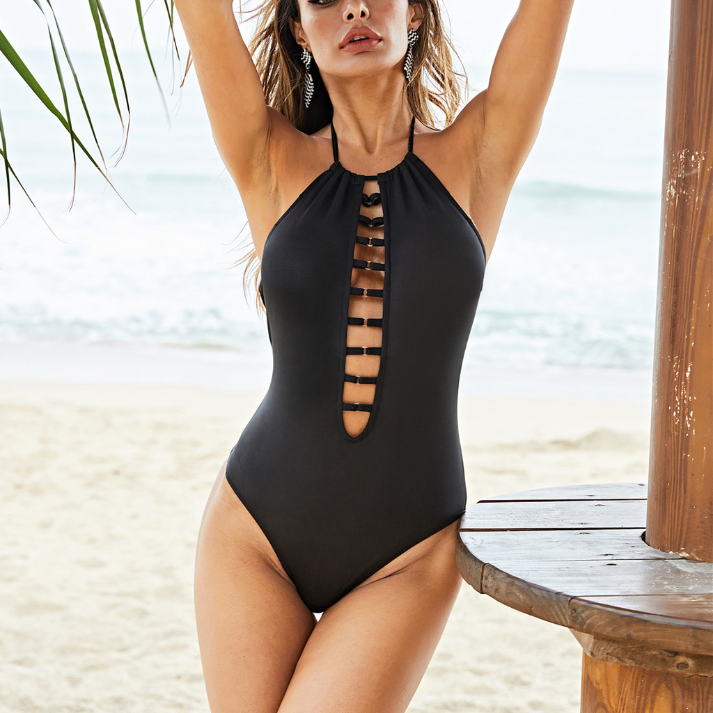 Female Swimsuits 2019 Women One Piece Push Up Bikini Printed Beach Bathing Monokini Solid Color Swimwear Sexy Backless Biquinis