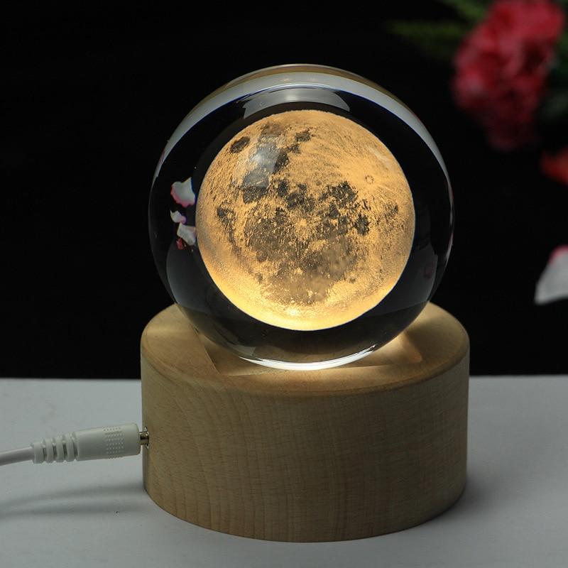 Rotating Luminous Moon Music Box Crystal Ball 3d Illusion Lamp USB Led Night Light Christmas Gift Kids Lights Decoration Home - 5