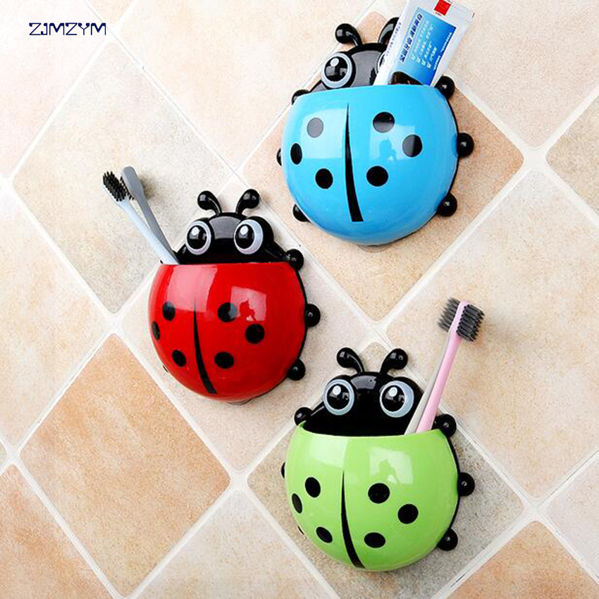 Cute Novelty Toothbrush Holder With Suction Cup Toothpaste Holder Big Ladybird image