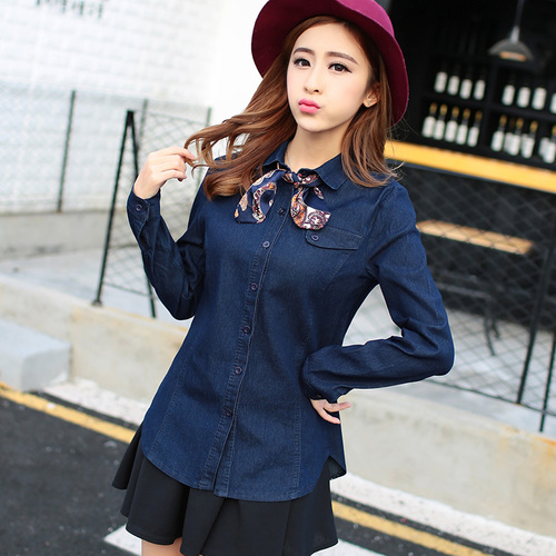 Denim Shirt Women 2017 Spring Fashion Bow Scarf Turn Down Collar Long Sleeve Blue Jeans Blouse Retro Denim Tops Blusa Jeans T122