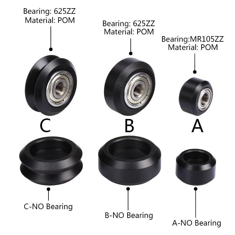 5/10pcs CNC Openbuilds Wheels Plastic POM Small&Big Passive Round Wheel Perlin Wheel & V-type For V-Slot C-Beam 3d Printer Parts