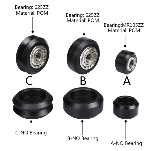 BIQU Openbuilds Plastic wheel POM  Small&big Models Passive Round wheel  Idler Pulley Gear perlin wheel & V-type for V-Slot