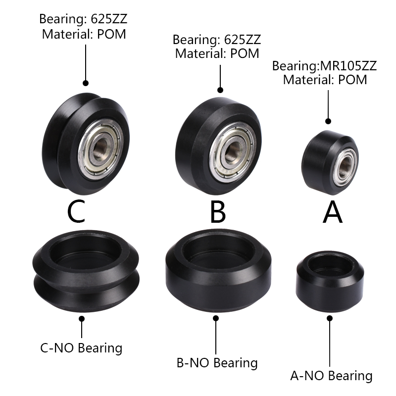 CNC Openbuilds Wheels Plastic POM Small&Big Passive Round wheel Idler Pulley Gear perlin wheel & V-type for V-Slot C-Beam for v slot openbuilds isolation column separate pillar quarantine bore 5 1mm carbon steel c beam