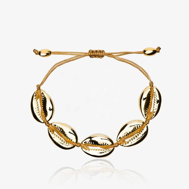Wenhao ARMBAND GOUD SHELL cowry armbanden boho mode strand seashell vrouwen armbanden sieraden