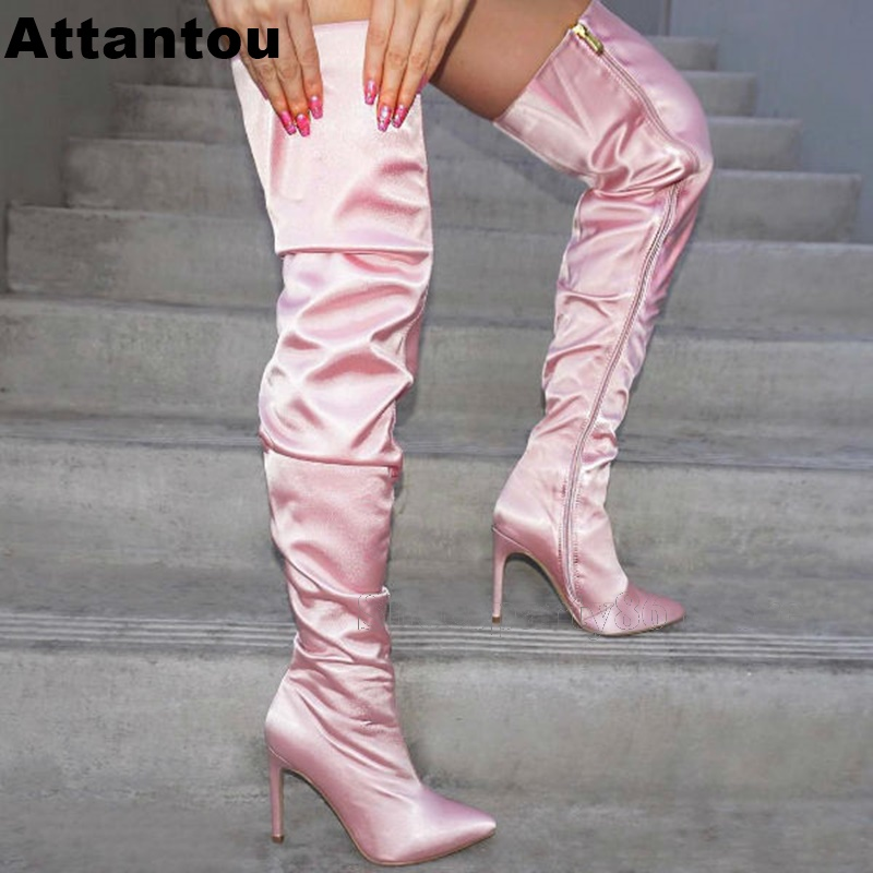 Fashion Warm Pink Color Pointed Toe Side ZipperThin High Heel Women Boots Over The Knee Thigh High Long Boots Plus size 43Fashion Warm Pink Color Pointed Toe Side ZipperThin High Heel Women Boots Over The Knee Thigh High Long Boots Plus size 43