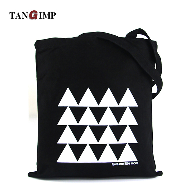 TANGIMP 2017 Black Canvas Handbags White Geometry Eco Cotton Tote Reusable Shoulder Bag Shopping Tote 37*40 cm opvouwbare tas