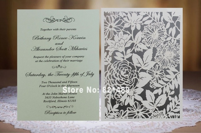 White Laser Cut Invitation Cards Elegant Wedding Invitation Design
