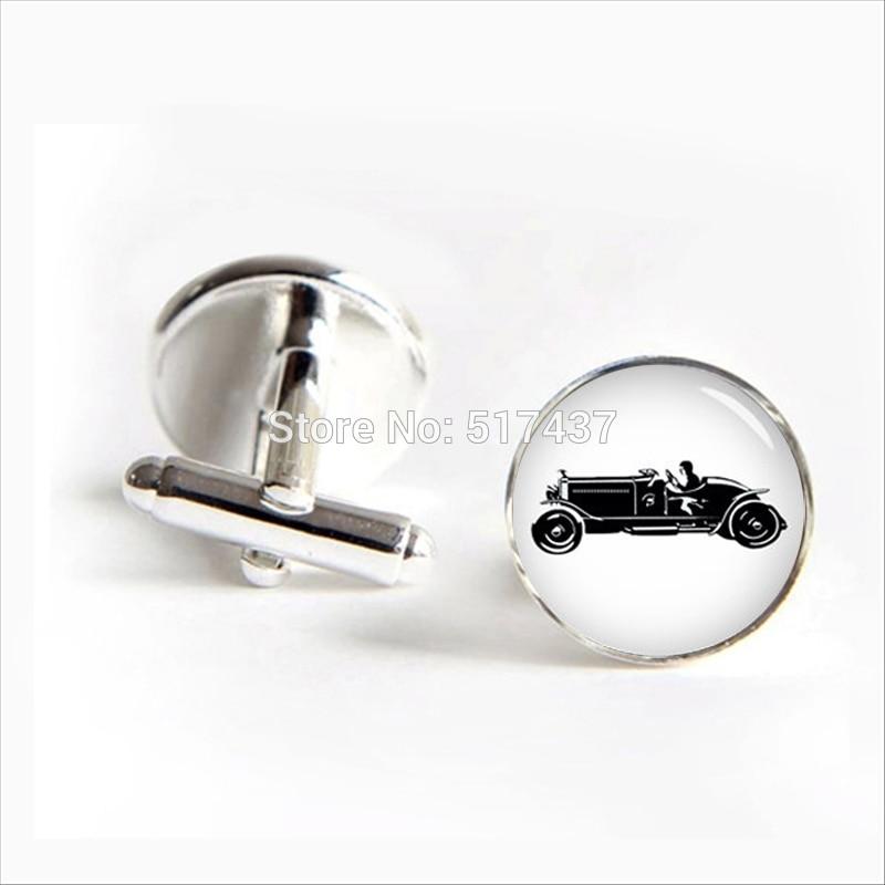 3 pairs2018 Bubble Car Cufflinks Bubble Car Cuff link Car Silver Black Round Cufflinks