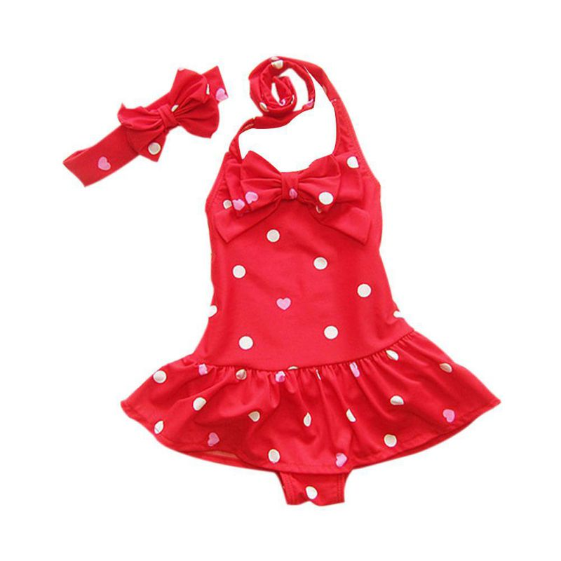 Bathing Children's Swimsuit With Headband Dots Printed Baby Girl Swimwear Beach Clothes One-piece Swimsuits RZ