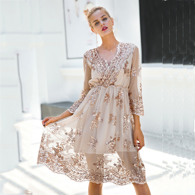 2018 Summer Chidrizawa New V neck long sleeve sequin party dresses women  Sexy mesh streetwear christmas 8bd3e5baa