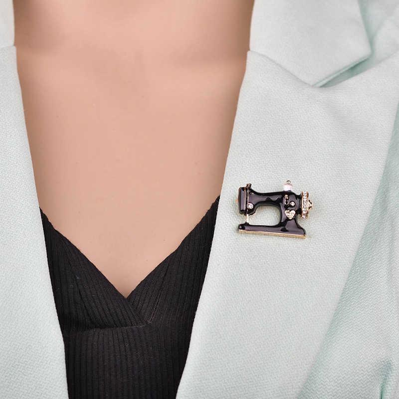 Nuovo Delle Ragazze Delle Donne Macchina Da Cucire Spilla Nero Dello Smalto Spille Gioielli Hijab Spille Per Il Collare del Vestito Sciarpa Decorazione Accessori