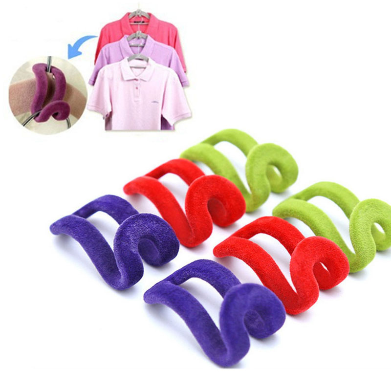 Storage Tools Portable Anti-Clip Hook  Mini Holder Closet Organizer Clothes Hanger  Flocking Cloth Hanger Hooks
