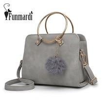 FUNMARDI Metall Ring Griff PU Leder Handtaschen Frauen Umhängetasche Vintage Frauen Taschen Weiblichen Umhängetasche WLHB1641
