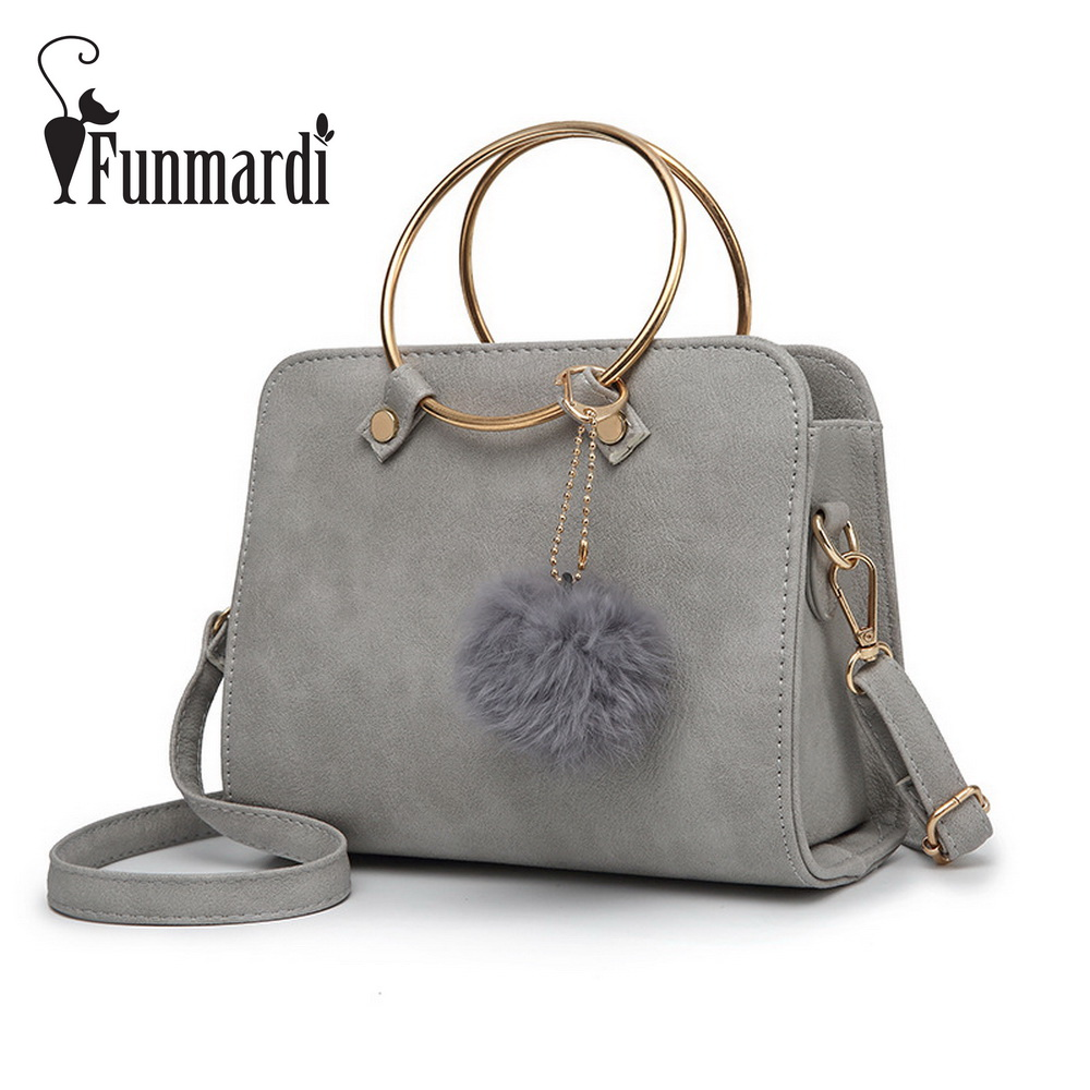 FUNMARDI Metal Ring Handle PU Leather Handbags Fashion Women Messenger Bag Vintage Women Bags Female Shoulder Bag WLHB1641