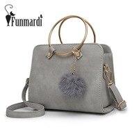 FUNMARDI Metal Ring Handle PU Leather Handbags Fashion Women Messenger Bag Vintage Women Bags Female Shoulder