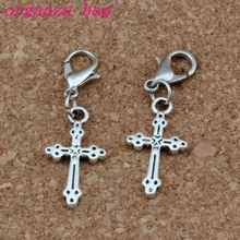 100Pcs/lots Antique Silver Cross Charms Bead with Lobster clasp Fit Charm Bracelet DIY Jewelry 11.2x35mm A-271b