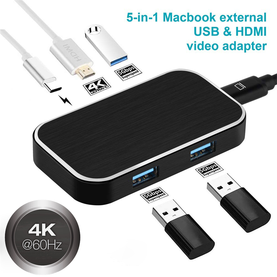 USB 3 1 Type C to HDMI HUB Adapter 4Kx2K 60Hz USB 3 0 Thunderbolt 3