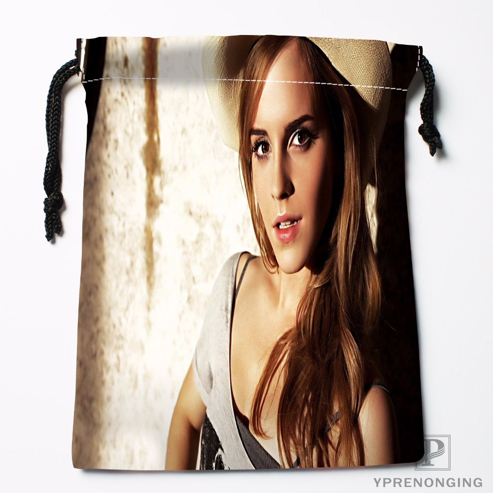 Custom Emma Watson Drawstring Bags Travel Storage Mini Pouch Swim Hiking Toy Bag Size 18x22cm#0412-03-17