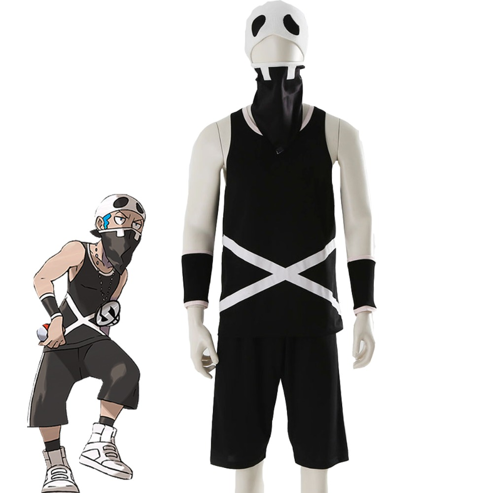 Pokemon T shirts Pants Cosplay Costume Suit Sun and Moon Team Skull Grunt T-shirt Shorts Wrist Mask Cap Hat Clothes 1/Set