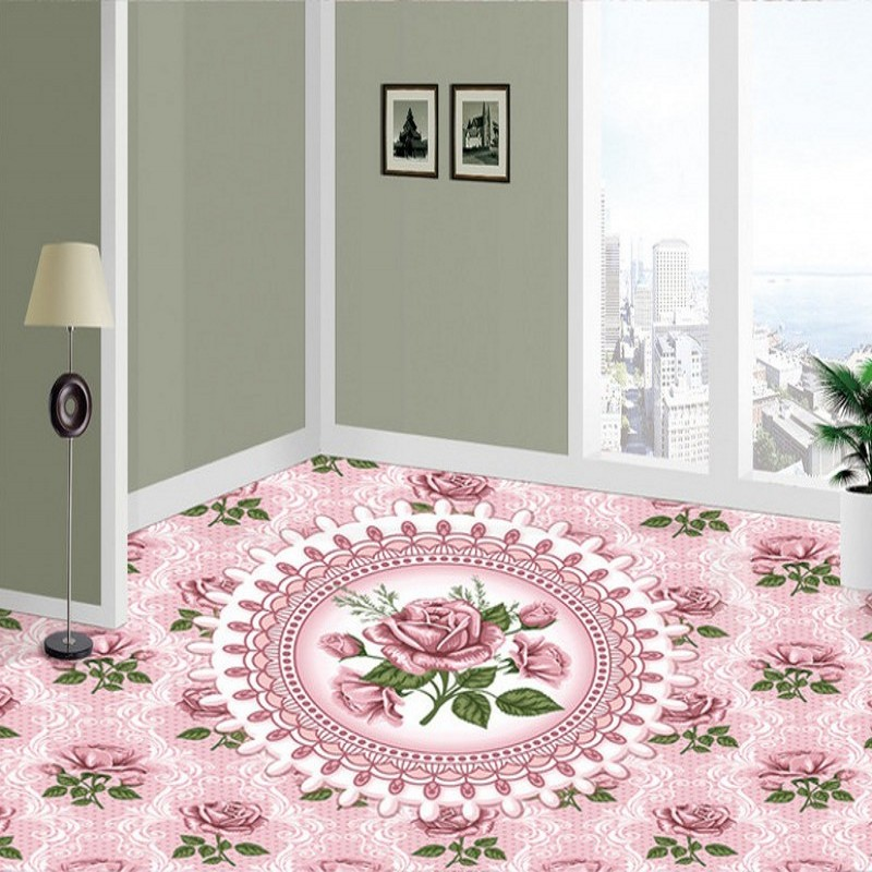 Free shipping European rose marble relief floor custom anti-skidding thickened bathroom chinese mural wallpaper 3d flooring  free shipping european 3d relief murals aisle porch corridor classical style wallpaper rich tree rose vase mural
