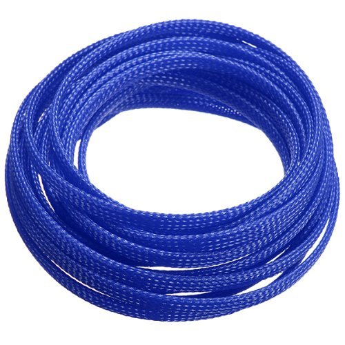 LIXF HOT 5M 4mm Expanding Braided Cable Wire Sheathing Sleeve Sleeving Harness Blue
