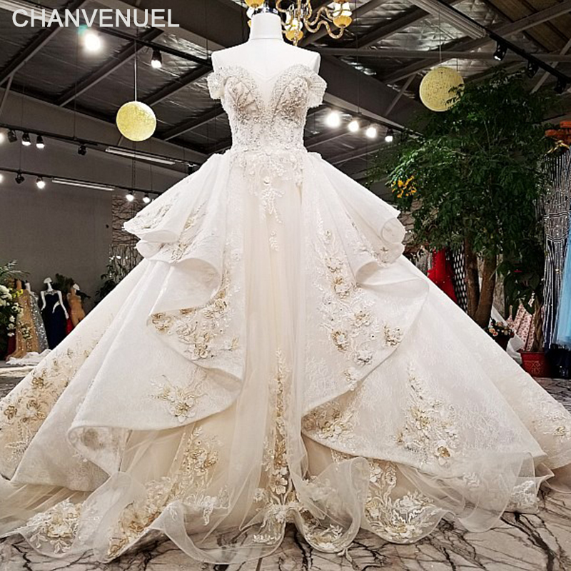 LS78550 2018 Luxury wedding dress off shoulder ball gown lace up back champagne bridal wedding gowns with long train as photos