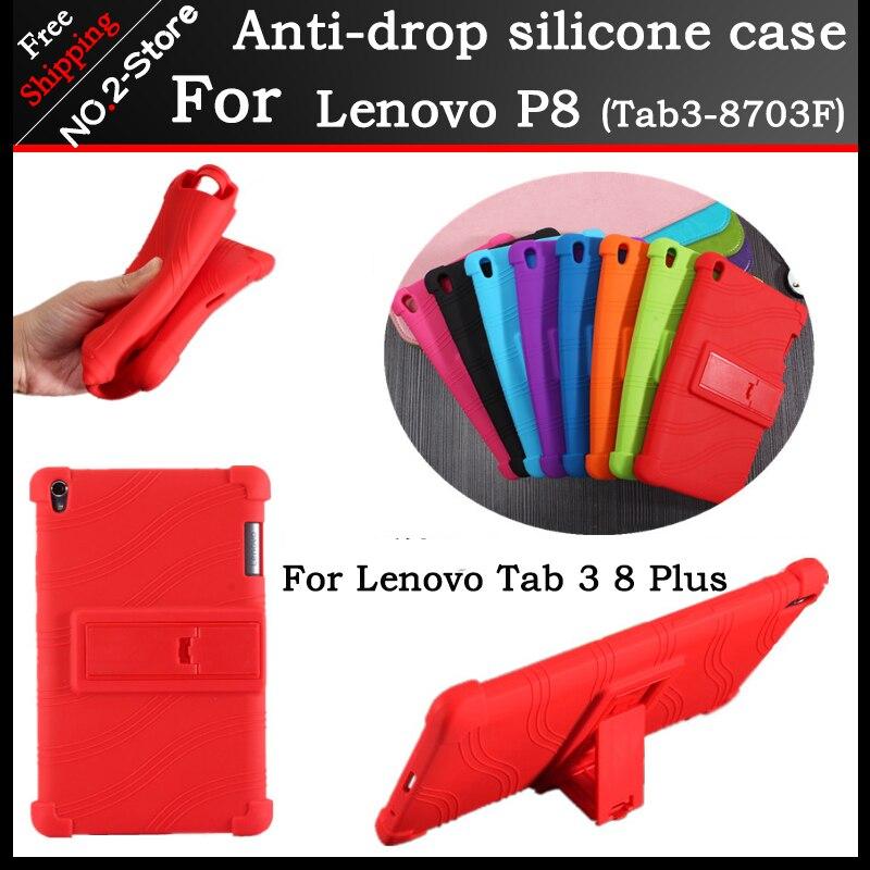 Ultra-mince Anti-chute Housse en silicone pour Lenovo TAB 3 8 Plus 8703x TB-8703F TB-8703N 8 pouce tablet pc, Vient avec le support