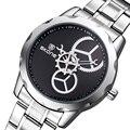 Homens relógio Skone original engrenagem analógico mostra prata relógios homens de aço completa de quartzo importado Movt moda Casual assista relógio masculino