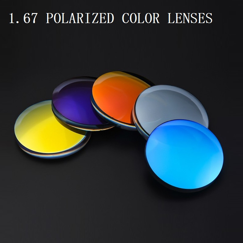 1 67 Polarized colorful spherical brand myopia sunglasses prescription lenses UV400 goggles optical glass lenses for