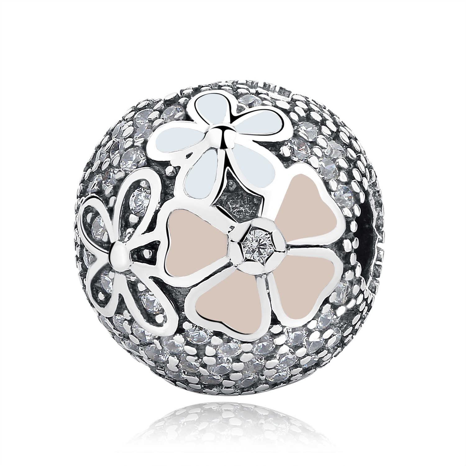 42e0c424d ... 100% S925 Sterling Silver Bead Flower Star Austria Crystal Safety Clip  Stopper Charms Fit Pandora ...
