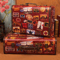 European manufacturers selling wholesale antique suitcase Vintage wooden studio clothing store window display box