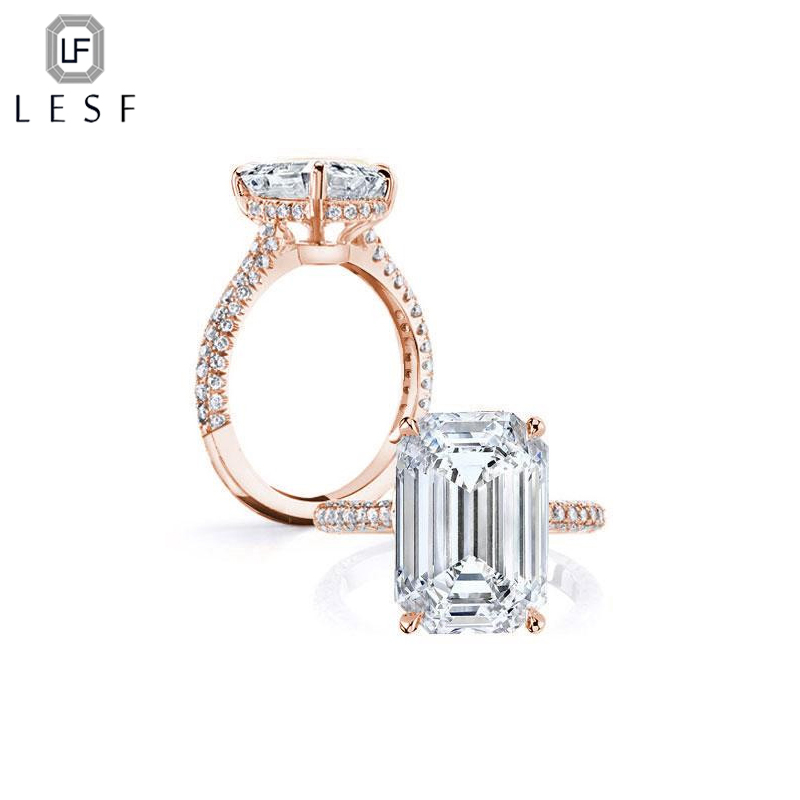 LESF 5 ct 925 Sterling Sliver Rings for Women Luxury Rose Gold Engagement Wedding Ring Cubic Zirconia Women Jewelry yoursfs brand luxury wedding engagement rings for women anel ballshape austria crystal 18 k rose gold plated aaa cubic zirconia g