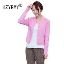 HZYRMY Spring Autumn New Women's Cashmere Cardigan Fashion Solid Color Short Jacket Wool Knit Long sleeve Soft beautiful Sweater