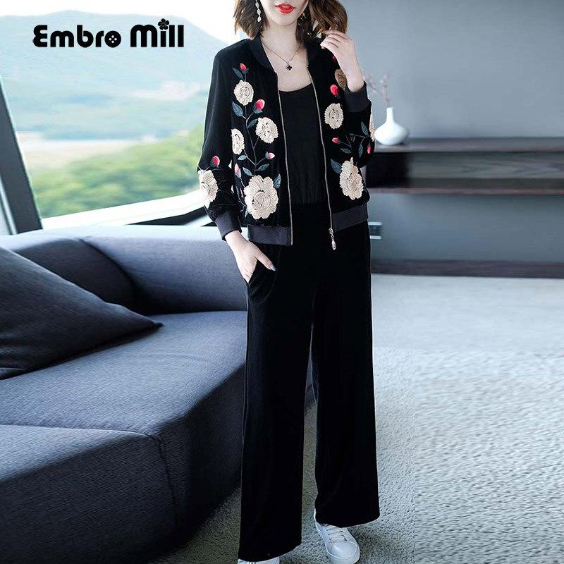 Schwarze High End M Floral Set Anzug Vintage Set L Jacke Samt Stickerei Elegante 4xl Hosen Blumen ssig Frauen Top Dame zSpqUVM