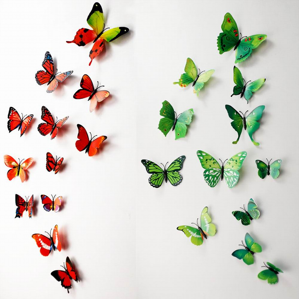 3D Butterfly Wall Decals Multicolor PVC Wall Stickers For TV Wall Kids  Bedroom Wall Home House Decoration ...