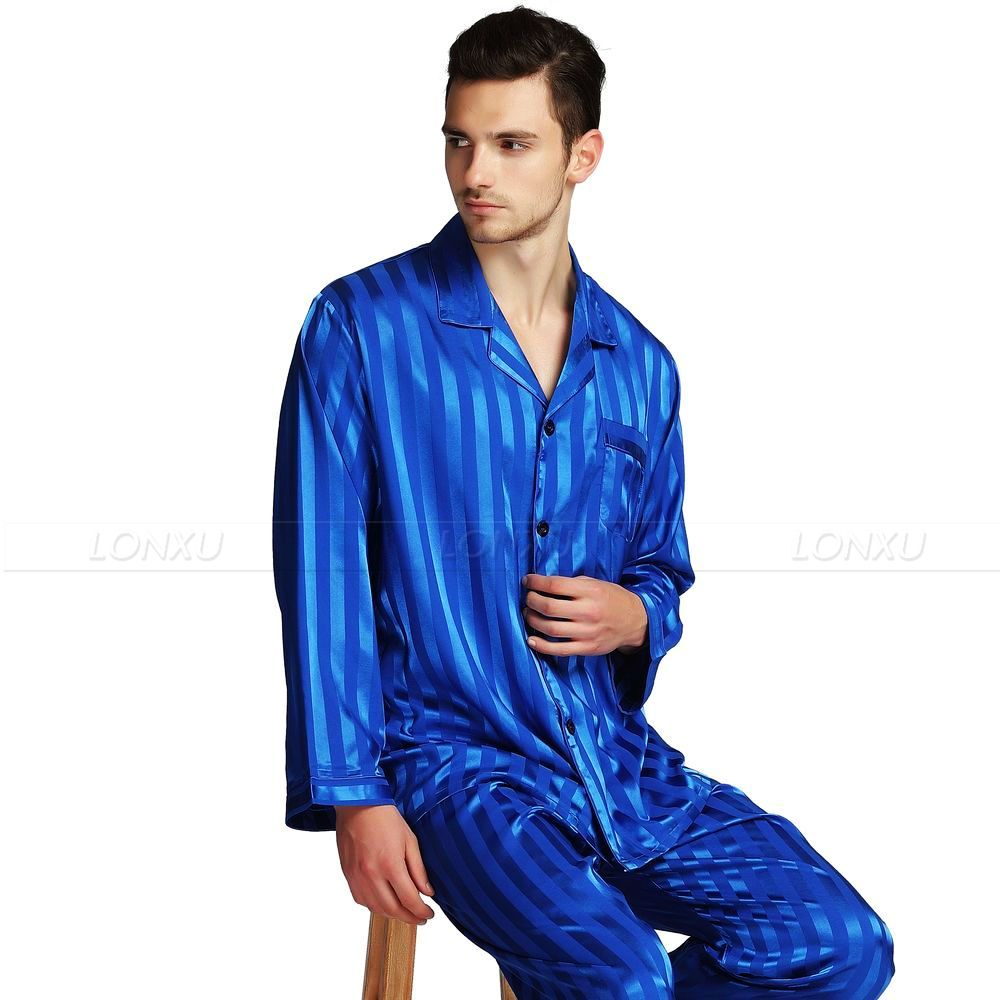 Image 4 - Mens Silk Satin Pajamas Set  Pajama Pyjamas  Set  Sleepwear Set  Loungewear S,M,L,XL,2XL,3XL,4XL  Plus  Striped Black-in Men's Pajama Sets from Underwear & Sleepwears on AliExpress