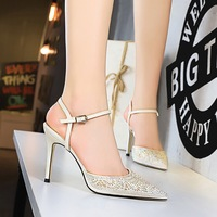 Women's White Pink High Heels Sandals with Rhinestone Ankle Strappy Thin Heels Dress Party Pumps Shoes