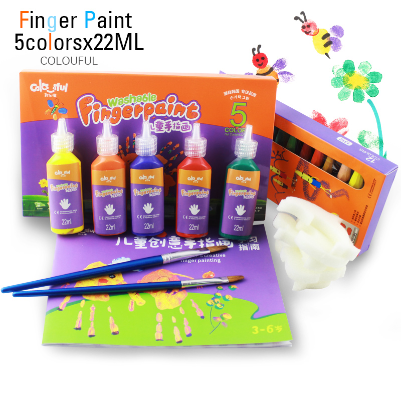 лучшая цена Diy Washable baby finger painting water colors set for kids children watercolor paint 5 colors 22ml